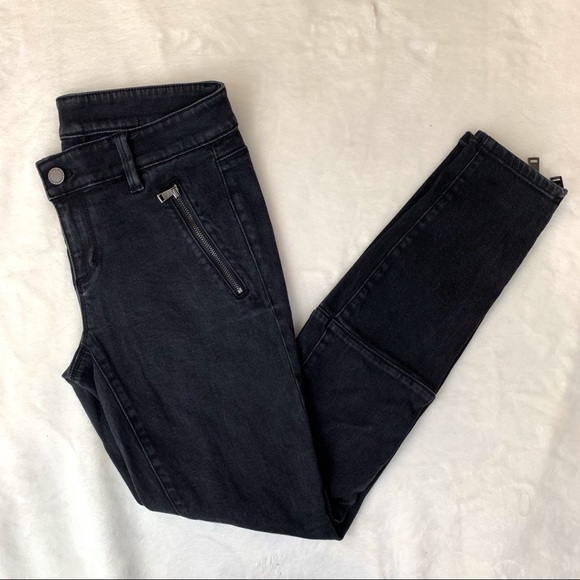 Ann Taylor Denim - Ann Taylor Womens Black Denim Zipper Skinny Jeans